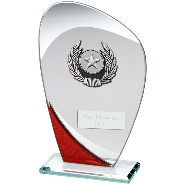 """Red & Silver Glass Plaque Award 18.5cm (7.25"""")"""