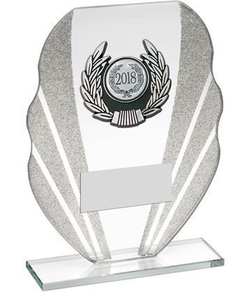 "Jade Glass Plaque Award With Silver Glitter Detail & Laurel Wreath Centre 16.5cm (6.5"")"