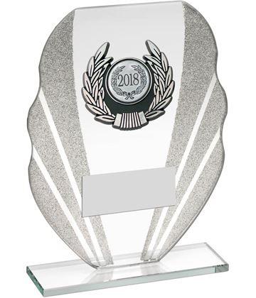 "Jade Glass Plaque Award With Silver Glitter Detail & Laurel Wreath Centre 16.5cm (6.5"")"