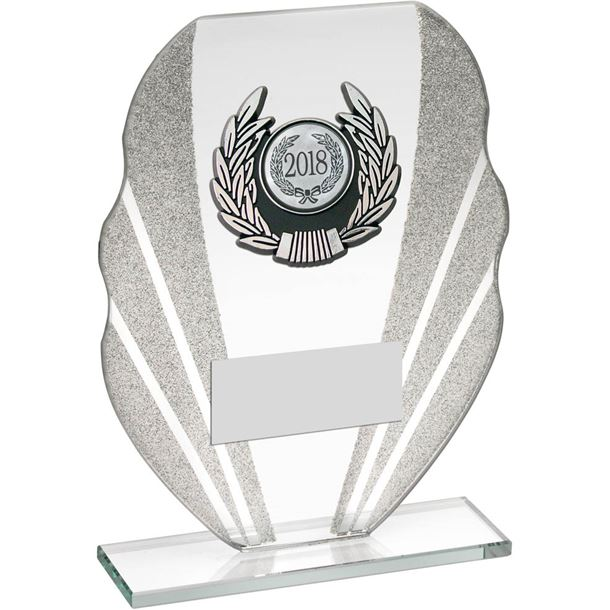 "Jade Glass Plaque Award With Silver Glitter Detail & Laurel Wreath Centre 18.5cm (7.25"")"