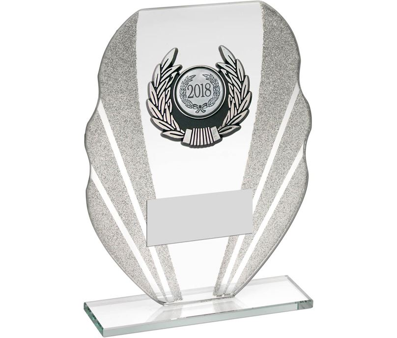 "Jade Glass Plaque Award With Silver Glitter Detail & Laurel Wreath Centre 20.5cm (8"")"
