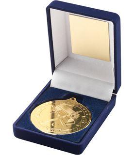 """Gold Field Hockey Medal in Blue Velvet Presentation Box 9cm (3.5"""")"""