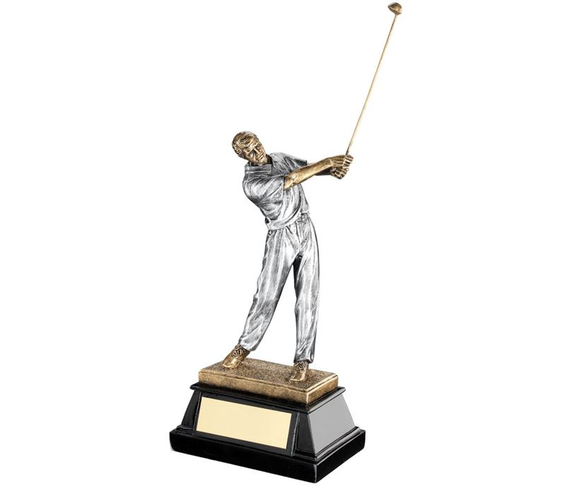 "Male Golfer Teeing Off Trophy On Black Base 22cm (8.75"")"