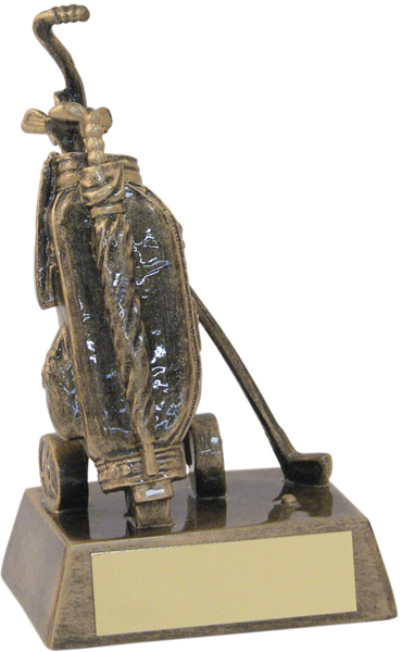 """Bronze & Gold Resin Golf Bag Trophy 16cm (6.25"""")"""
