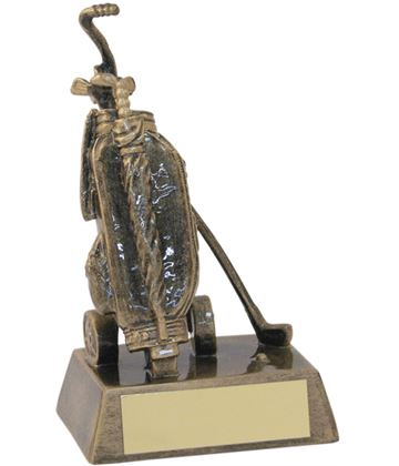 "Bronze & Gold Resin Golf Bag Trophy 16cm (6.25"")"