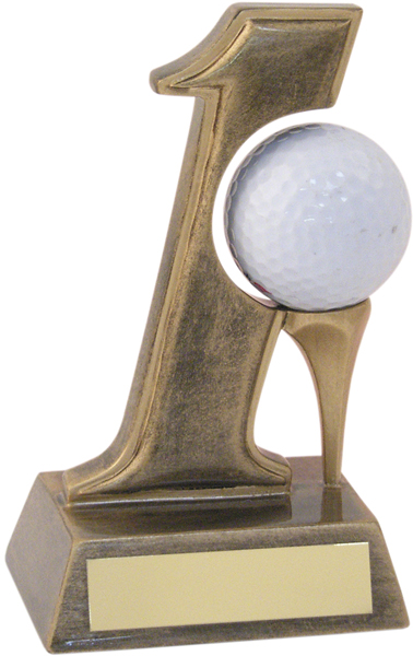 """Antique Gold Resin Hole In One Golf Trophy 14cm (5.5"""")"""