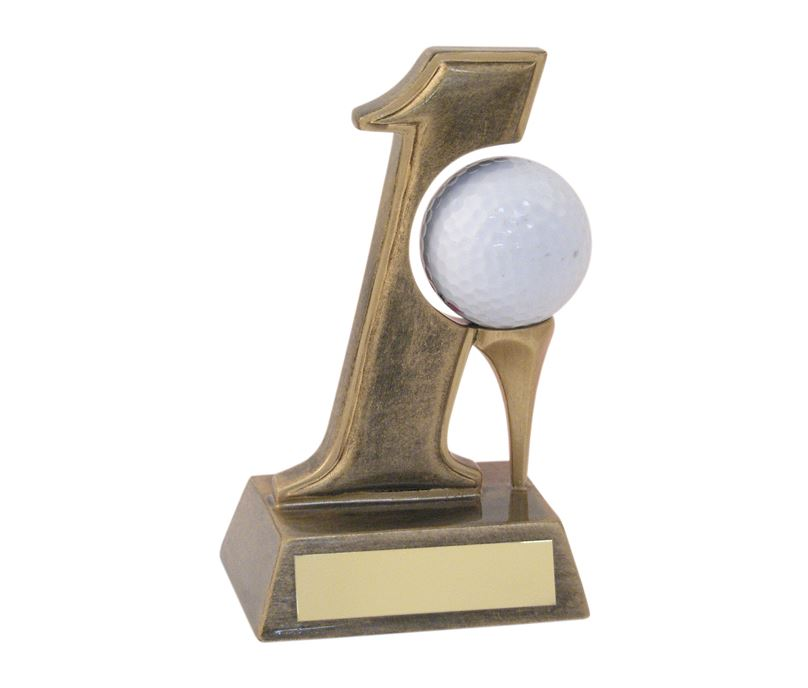 "Antique Gold Resin Hole In One Golf Trophy 14cm (5.5"")"