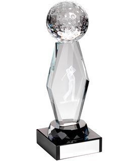 "Optical Crystal Golf Column Trophy on Black Base 18.5cm (7.25"")"