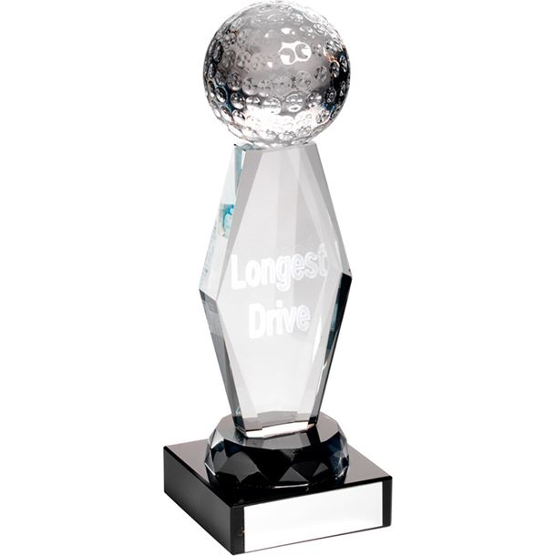 "Optical Crystal Longest Drive Golf Column Trophy 18.5cm (7.25"")"