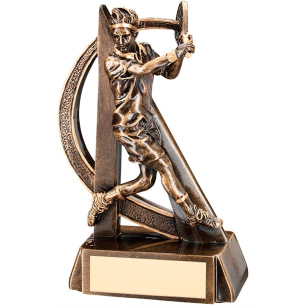 """Antique Gold Male Tennis Player Trophy with Gold Trim 19cm (7.5"""")"""