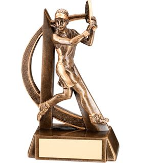 "Antique Gold Female Tennis Player Trophy with Gold Trim 19cm (7.5"")"