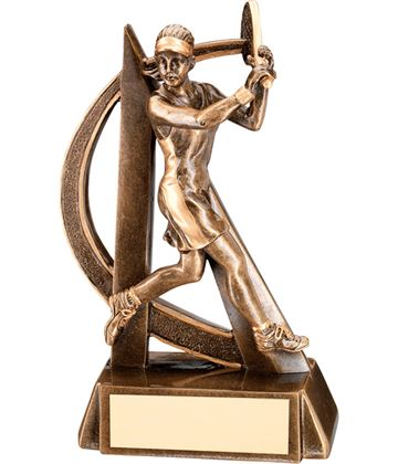 """Antique Gold Female Tennis Player Trophy with Gold Trim 19cm (7.5"""")"""