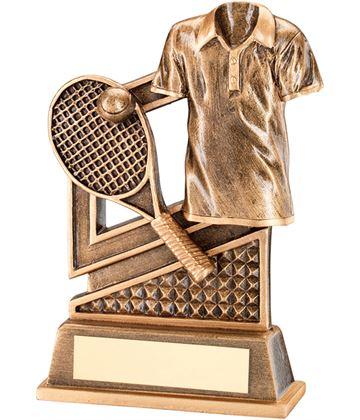 "Antique Gold Tennis Racket & Shirt Trophy with Diamond Pattern 12cm (4.75"")"
