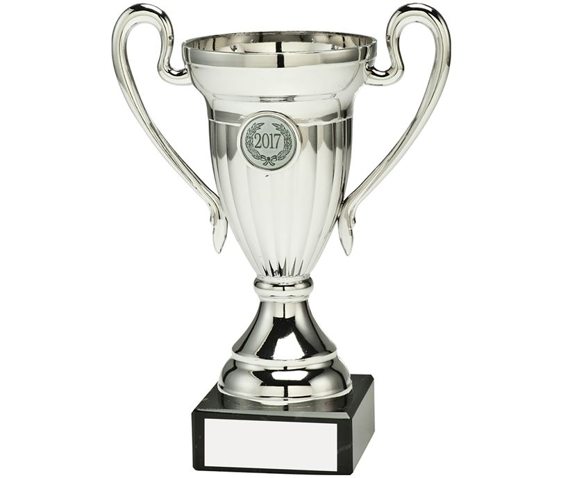 "Silver Plastic Mini Trophy Cup With Handles 18cm (7"")"