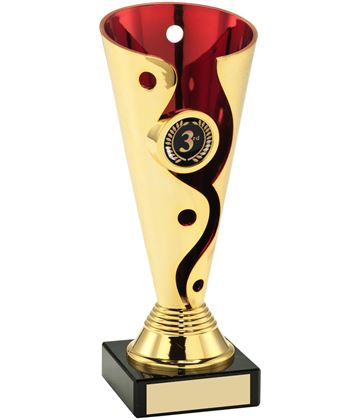 "Carnival Trophy Cup On Marble Base Gold & Red 15cm (6"")"