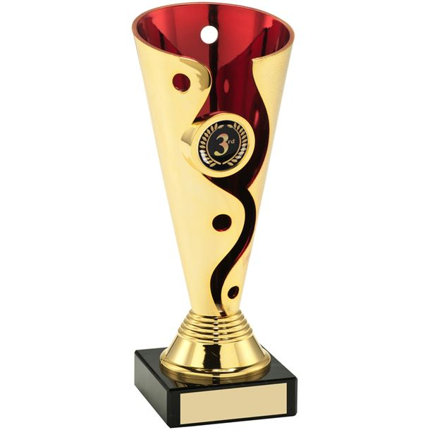 """Carnival Trophy Cup On Marble Base Gold & Red 15cm (6"""")"""