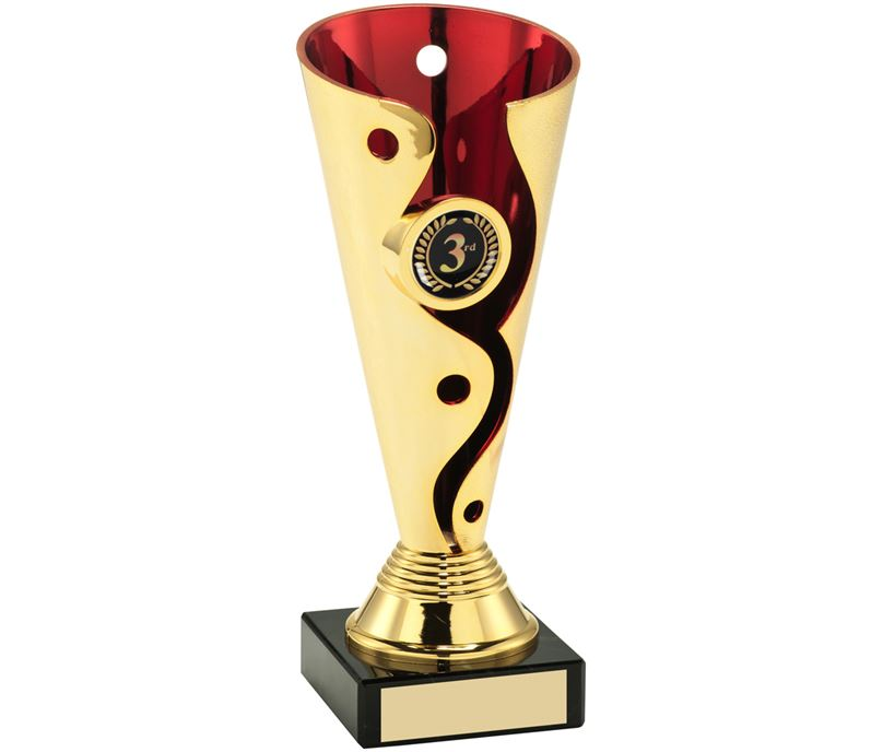 "Carnival Trophy Cup On Marble Base Gold & Red 17cm (6.75"")"