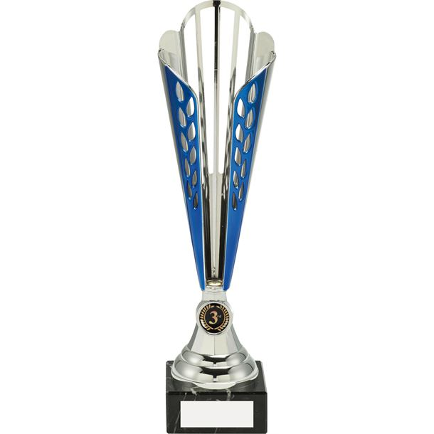 """Plastic Cone Trophy Cup On Marble Base Blue & Silver 32cm (12.5"""")"""