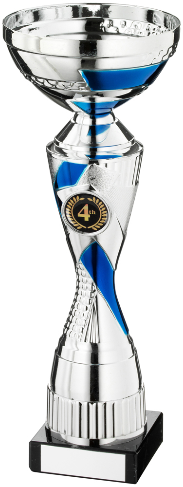 "Silver Trophy Cup With Blue Detail 32.5cm (12.75"")"
