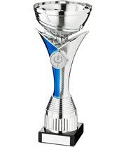 """Silver & Blue V Riser Stem Trophy Cup 18cm (7"""")"""