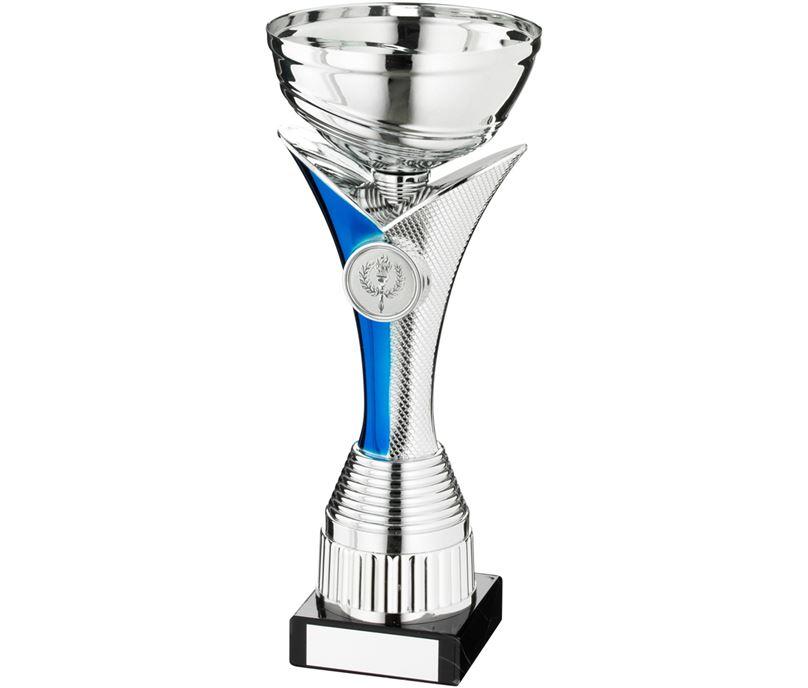 """Silver & Blue V Riser Stem Trophy Cup 26.5cm (10.5"""")"""