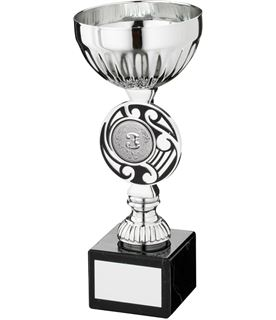 "Silver Bowl Round Celtic Trophy Cup On Marble Base 18.5cm (7.25"")"