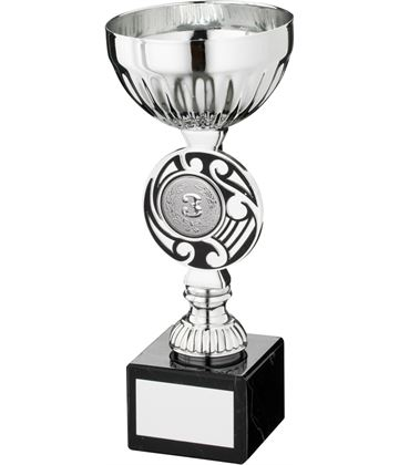 """Silver Bowl Round Celtic Trophy Cup On Marble Base 16.5cm (6.5"""")"""