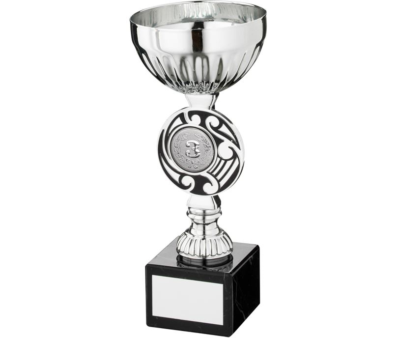 "Silver Bowl Round Celtic Trophy Cup On Marble Base 18cm (7"")"
