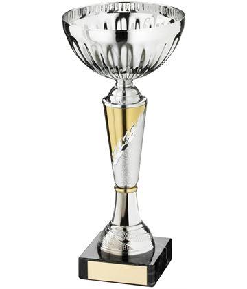"Laurel Wreath Patterned Bowl Trophy Cup Silver & Gold 18.5cm (7.25"")"