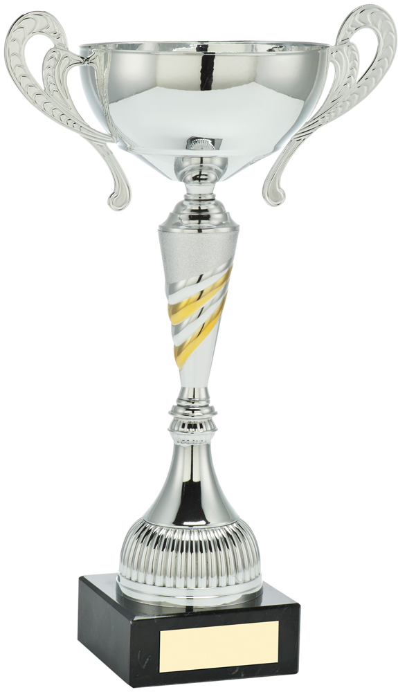 "Silver Bowl Gold & White Spiral Trophy Cup With Handles 36cm (12"")"
