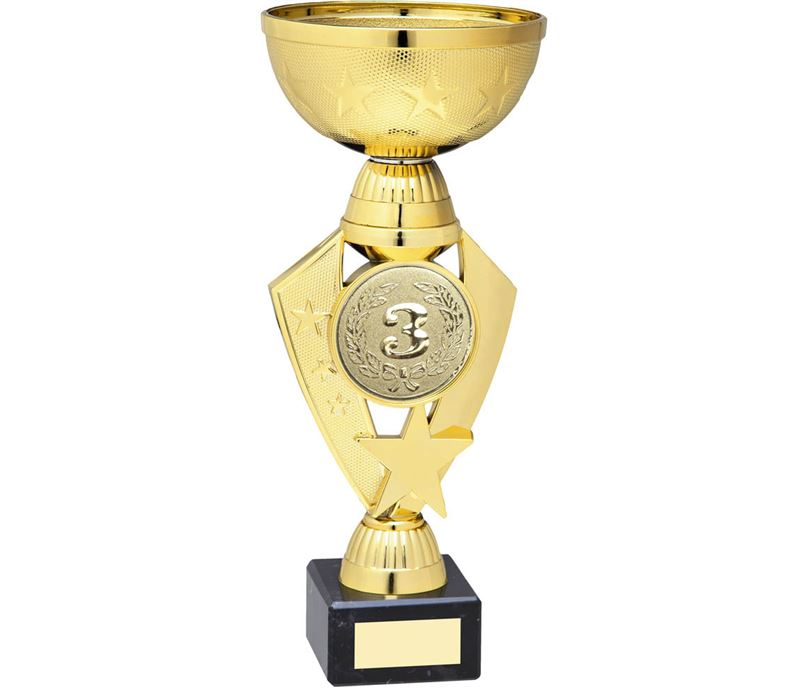 "Star & Centre Trophy Cup Gold Plastic 23cm (9"")"