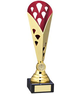 """Cone Trophy Cup On Marble Base Gold & Red Plastic 31cm (12.25"""")"""