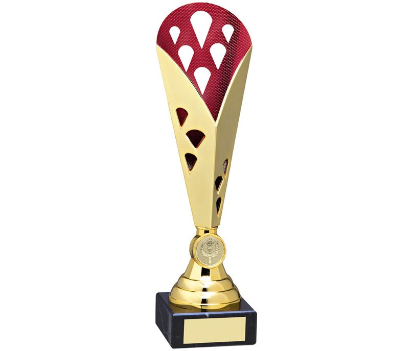 "Cone Trophy Cup On Marble Base Gold & Red Plastic 29cm (11.5"")"