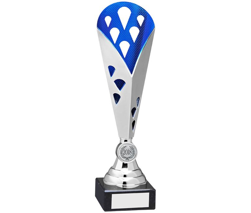 "Cone Trophy Cup On Marble Base Silver & Blue Plastic 26.5cm (10.5"")"