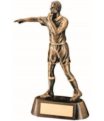 "Football Referee Figure Trophy Antique Gold 17cm (6.75"")"