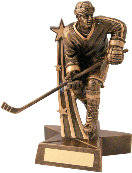 "Antique Gold Resin Male Ice Hockey Player Trophy 14.5cm (5.75"")"
