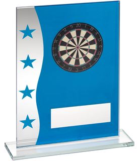 "Darts Blue & Silver Star Printed Glass Plaque Award 16.5cm (6.5"")"