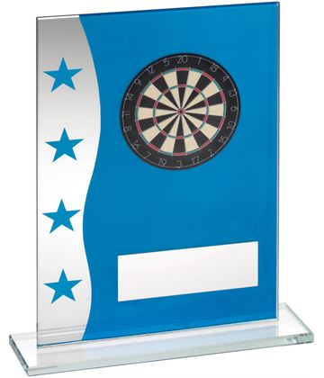"Darts Blue & Silver Star Printed Glass Plaque Award 20.5cm (8"")"
