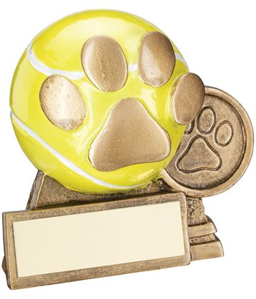 """Antique Gold/Yellow 3D Mini Dog Ball With Paw Print Trophy 7.5cm (3"""")"""