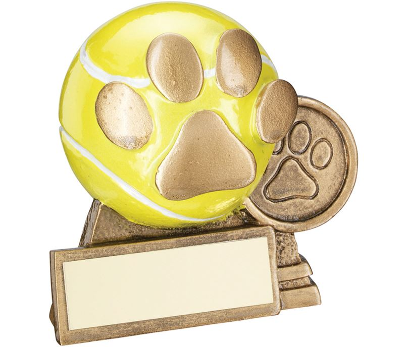 "Antique Gold/Yellow 3D Mini Dog Ball With Paw Print Trophy 7.5cm (3"")"