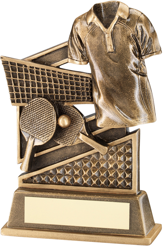 """Antique Gold Table Tennis Trophy with Diamond Pattern 12cm (4.75"""")"""
