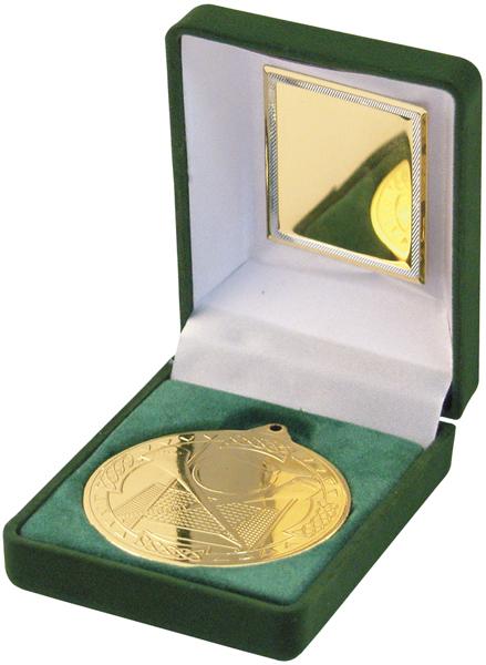 """Gold Hurling Medal 50mm (2"""") in Green Velvet Box"""