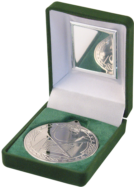 "Silver Hurling Medal 50mm (2"") in Green Velvet Box"