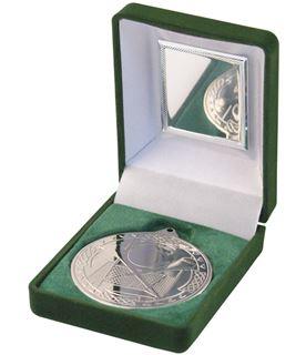 """Silver Hurling Medal 50mm (2"""") in Green Velvet Box"""