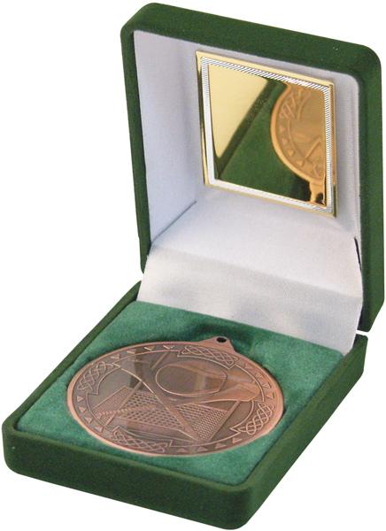 "Bronze Hurling Medal 50mm (2"") in Green Velvet Box"