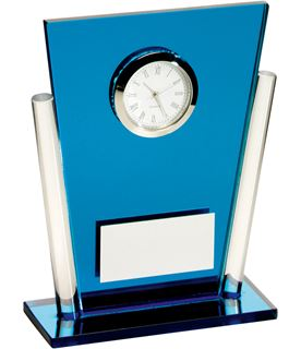 """Blue & Clear Glass Tapered Rectangle Clock Trophy 13.5cm (5.25"""")"""
