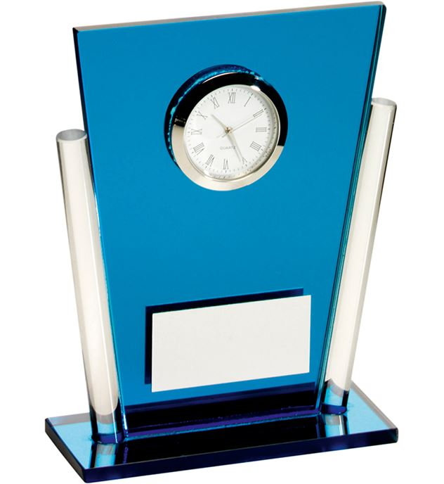 "Blue & Clear Glass Tapered Rectangle Clock Trophy 13.5cm (5.25"")"