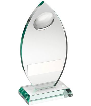 "Rugby Flame Shaped Jade Glass Plaque Award 21.5cm (8.5"")"