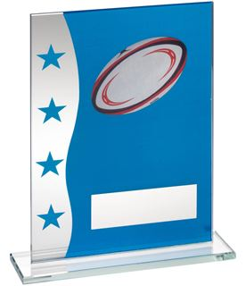 """Rugby Blue & Silver Star Printed Glass Plaque Award 16.5cm (6.5"""")"""