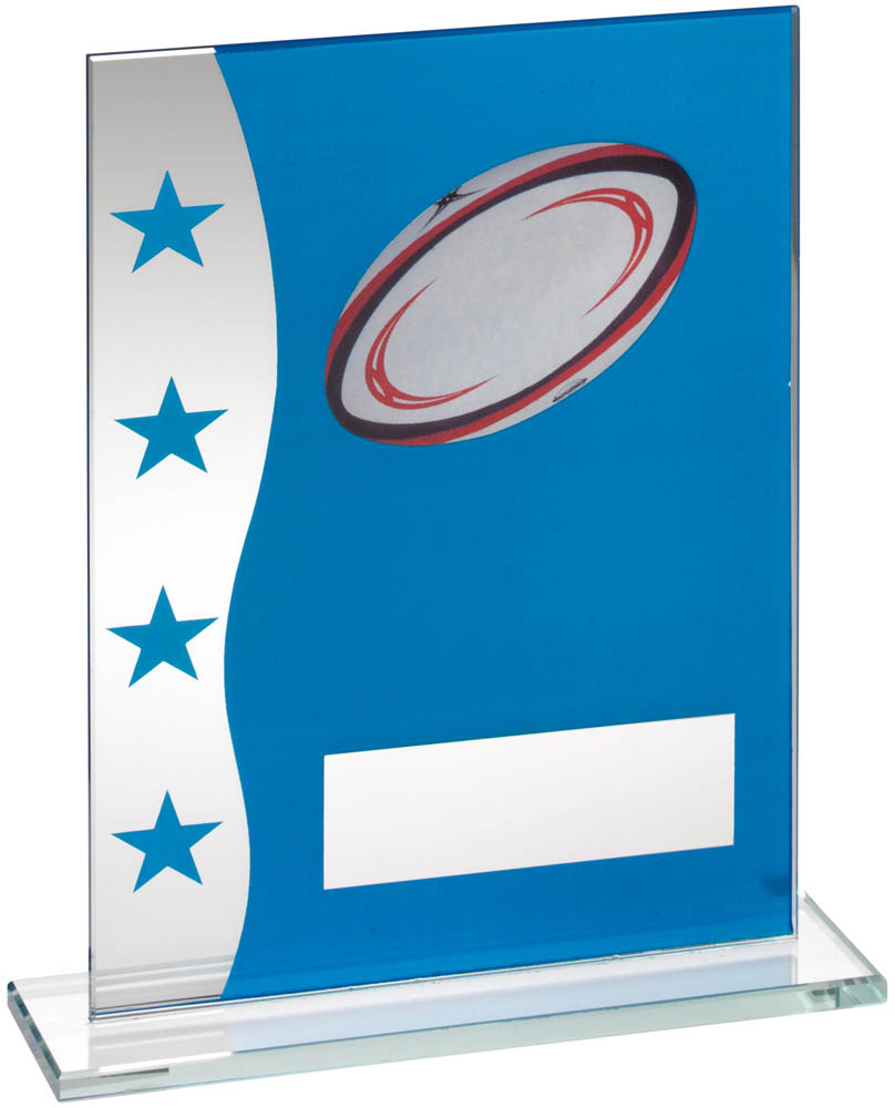"Rugby Blue & Silver Star Printed Glass Plaque Award 20.5cm (8"")"